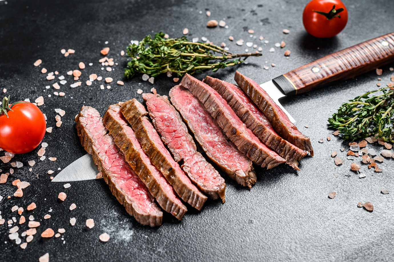 Grilled-and-sliced-flat-iron-rare-steak