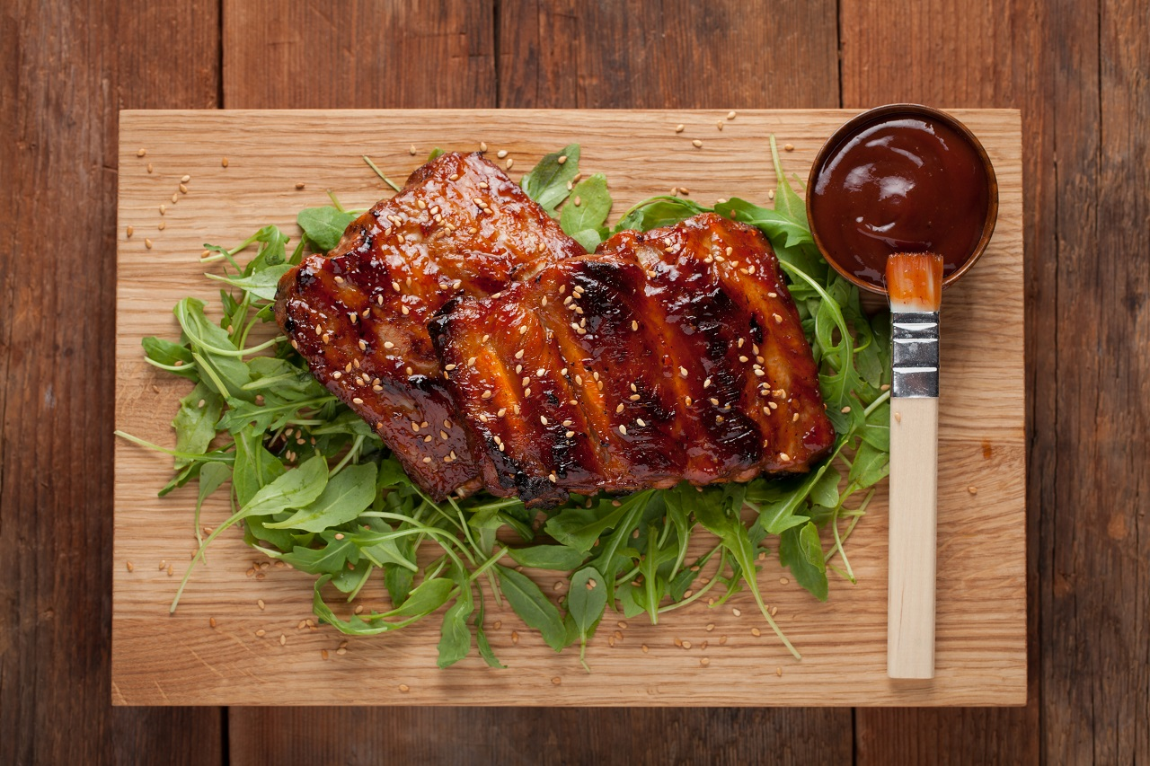 Closeup-of-pork-ribs-grilled-with-BBQ